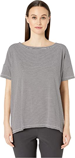 Ministripe Organic Cotton Jersey Bateau Neck Short Sleeve Top
