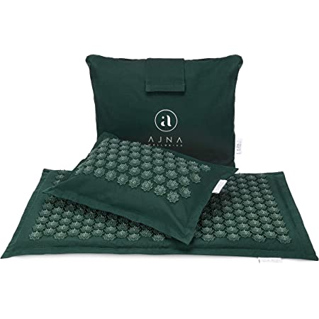 Ajna Acupressure Mat and Pillow Set - Ideal for Back Pain Relief and Neck Pain Relief - Advanced Stress Reliever - Muscle Relaxant - Free Tote Bag - Eco Lite (Forest)
