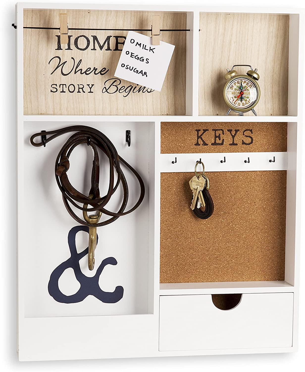 Danya B. KS19053WH Entryway Key Mail Holder Wall Organizer with Key Hooks and Clothespin Picture Hanger