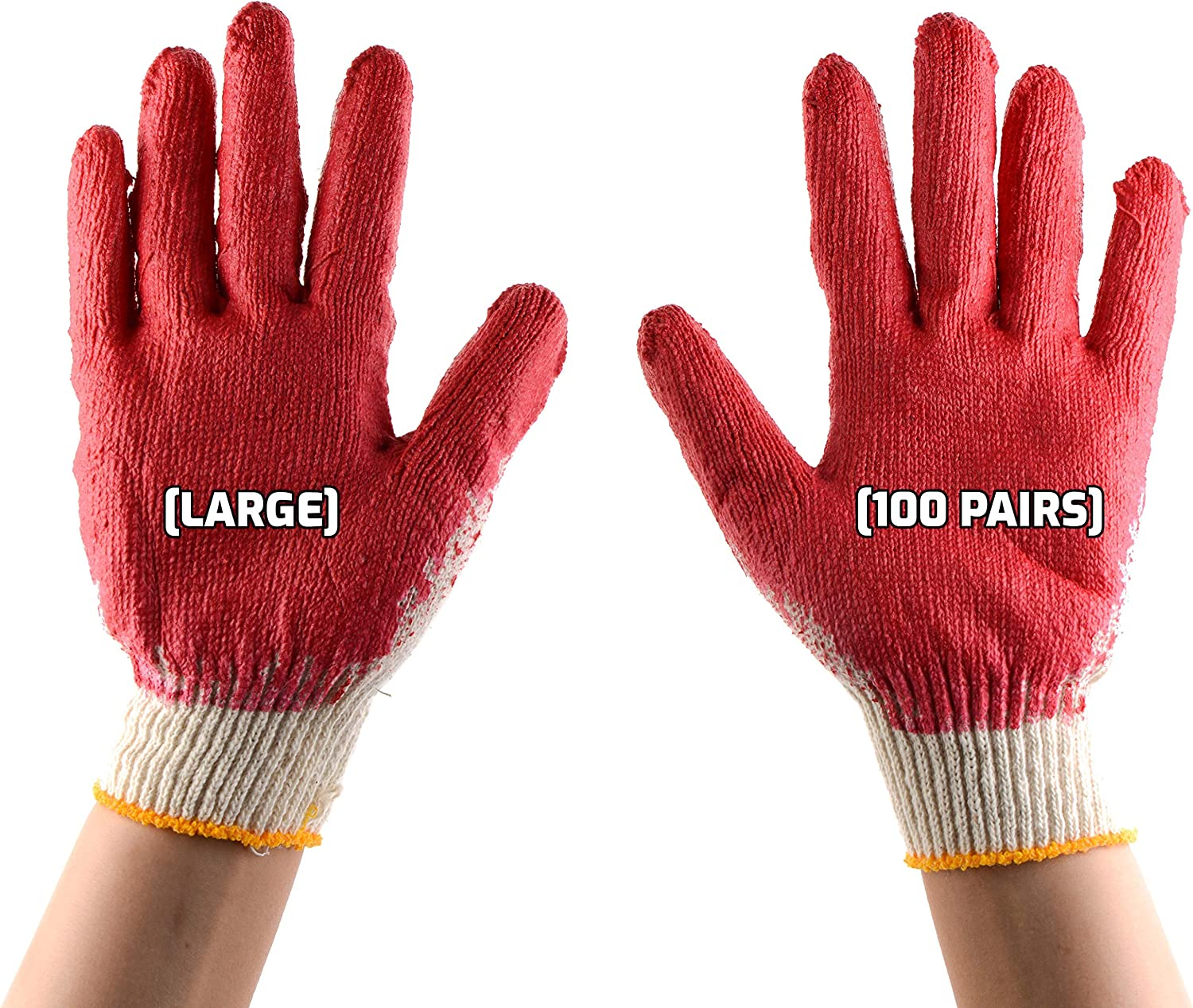 100 Pack Latex Dipped Nitrile Coated - Work Large Strin Max 40% OFF Gloves Special sale item