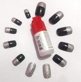 TC 12 Pcs Artificial black & silver Glitter Nails (Reusable) With Professional Nail Glue Reusable