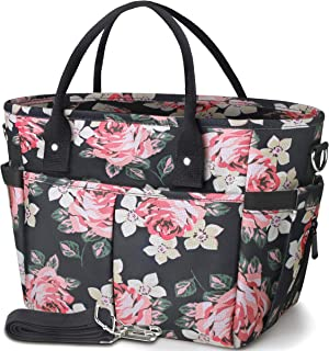 KIPBELIF Insulated Lunch Bags for Women - Large Tote Adult Lunch Box for Women with Shoulder Strap, Side Pockets and Water Bottle Holder, Rose, Extra Large Size
