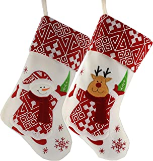 WEWILL Classic Christmas Stockings Set of 2 Santa, Snowman Xmas Character 17 inch (Style 4)