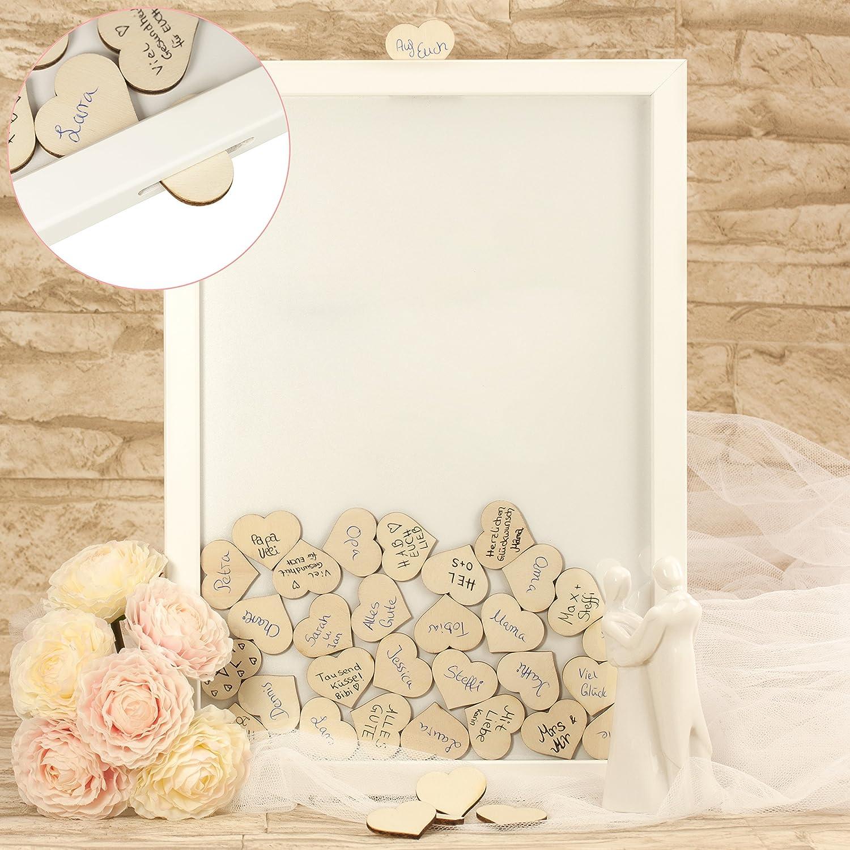 Gästebuch Alternative zur Hochzeit mit 70 Holz-Herzen - Qualität aus Deutschland - originelle Hochzeitsgeschenke für Brautpaare - Bilder-Rahmen B073QVXCQ7