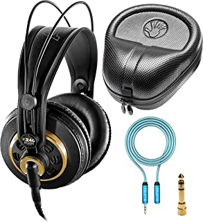 AKG K240 Studio Over-Ear Semi-Open Professional Headphones Bundle with Blucoil 6-FT Headphone Extension Cable (3.5mm), and Full-Sized HardBody Pro Headphone Case