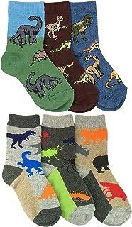 Boys Dinosaurs/Animals Pattern Crew Socks 6 Pair Pack