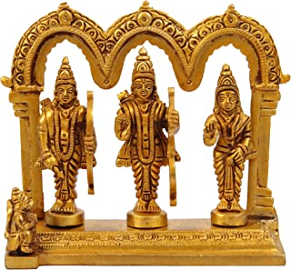Idol Collections Shri Ram Darbar in Golden Finish Brass Statue,