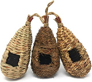 Lantern Hill Set of 3 Hand Woven Teardrop Shaped Small Hanging Birdhouses