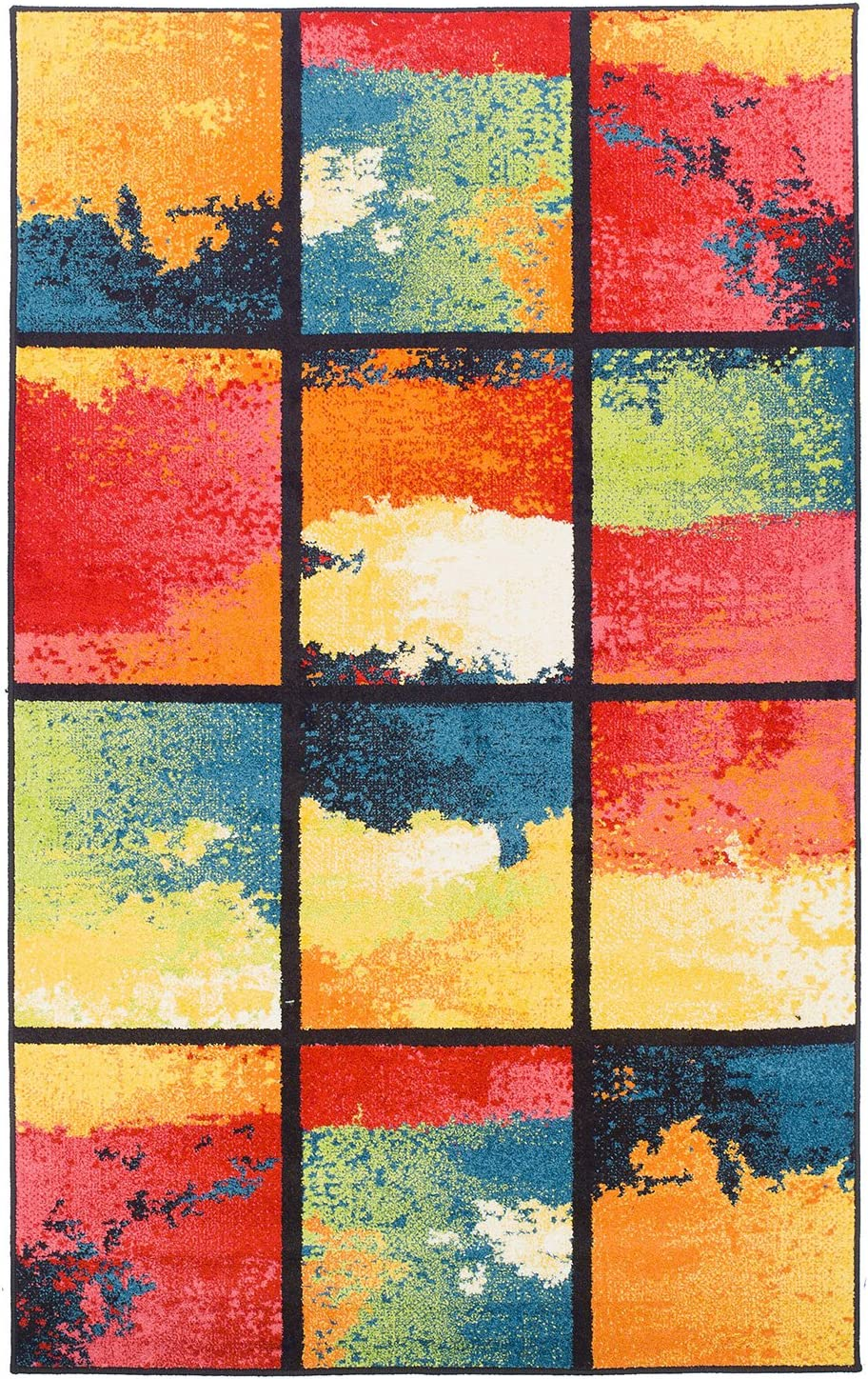 SUPERIOR Painted Cubes Area Max 66% OFF Collection 8X10 Miami Mall Rug