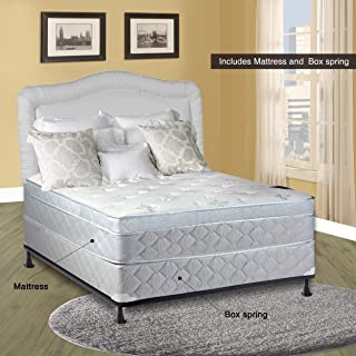 Spinal Solution, 11-Inch Medium plush Foam Encased Eurotop Pillowtop Innerspring Mattress And Wood