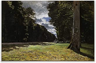 Monet Wall Art Collection The The Road of Chailly in The Fontainbleau Forest, 1865 Canvas Prints Wrapped Gallery Wall Art | Stretched and Framed Ready to Hang 30X40,