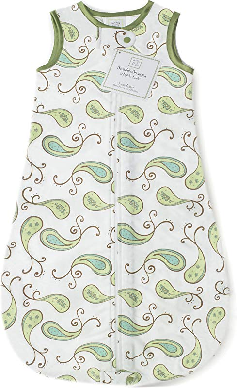 SwaddleDesigns Cotton Sleeping Sack With 2 Way Zipper Made In USA Premium Cotton Flannel Kiwi Paisley 12 18MO