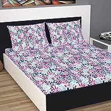 Divine Casa Cotton 144 TC Double Bed Sheet with 2 Pillow Covers, Floral -Purple