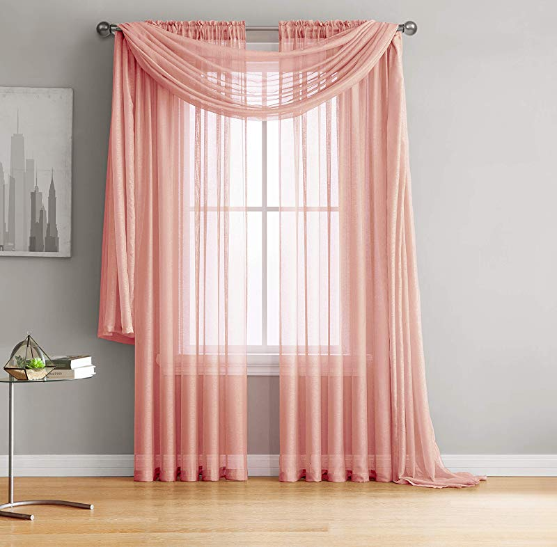 Jane Rod Pocket Semi Sheer Curtains 2 Pieces Total Size 108 W X 63 L Natural Light Flow Material Durable For Bedroom Living Room Kid S Room And Kitchen 54 W X 63 L Coral