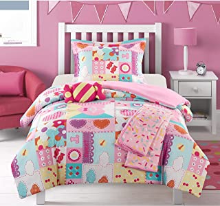 MISC 4 Piece Girl Power Comforter Twin Set Glam Girl Bedding Sweet Treats Candy Sprinkles Flower Heart Love Patchwork Themed Pattern Pink Purple Pink Orange Yellow White, Microfiber