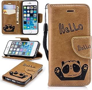 Lomogo iPhone5Sケース / iPhone5ケース / iPhoneSEケース 手帳型 パンダ 耐衝撃 レザーケース 財布型 カードポケット スタンド機能 マグネット式 アイフォン5S 5 SE 手帳型 パンダケース カバー 人気 - LOBFE12317 茶