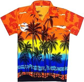 Virgin Crafts Men's Hawaiian Shirt Button Down Short Sleeves Casual Fashion Shirt