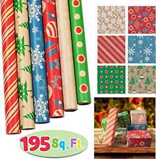 "6 Rolls Kraft Wrapping Paper Set (30"" X 156"") for Holiday Xmas Gift Wrap, Christmas Gift Wrapping Decoration, School Classrooms, Party Favors, Xmas Present Décor."