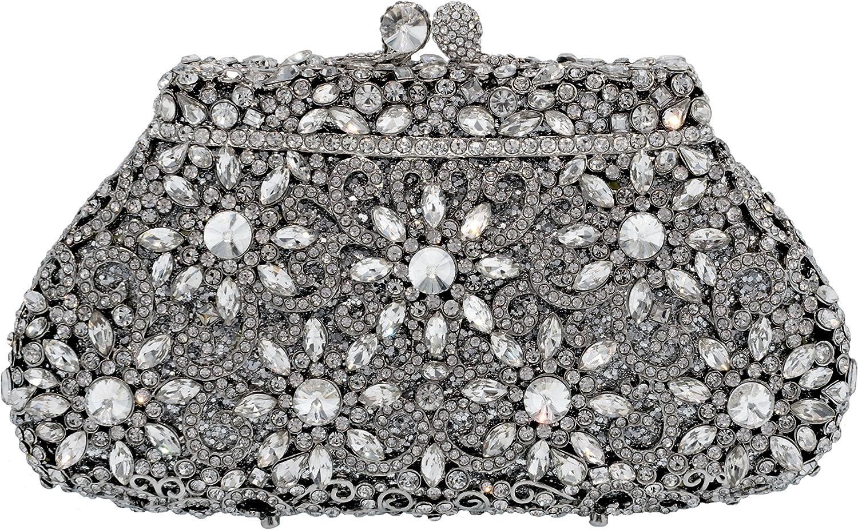 Holiday Celebration Sparkling Crystal Bridal Clutch Special Occasion Rhinestone Evening Bag Silver