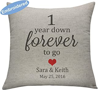 YugTex Cushion Cover Embroidered Pillow Covers Couple Personalized Throw Pillowcases, Gifts for Wedding, 1 Year Anniversary Gift, 1 Year Down Forever To Go, 1 year anniversary gift for her