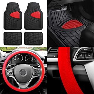 FH Group FH-F11311 Premium Tall Channel Rubber Floor Mats w. FH3001 Snake Pattern Silicone Steering Wheel Cover, Red/Black Color
