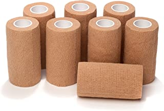 Best 8-Piece Self Adherent Cohesive Wrap Bandages Bundle Pack, 3-in Wide 5 yds Self Adhesive Non Woven Bandage Rolls, Brown Athletic Tape for Wrist & Hand, Premium-Grade Medical Stretch Wrap, Ankle Tape Review