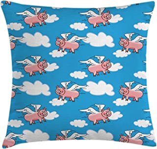 Ambesonne Pig Throw Pillow Cushion Cover, Flying Pig Cartoon Style Characters with Wings The Saying Great Kid Clouds, Decorative Square Accent Pillow Case, 18 X 18 Inches, Blue White Light Pink