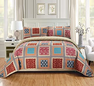 Fancy Linen 3pc King/California King Quilt Bedspread Set Over Size Bed Cover Squares Floral Taupe Brown Blue Red New