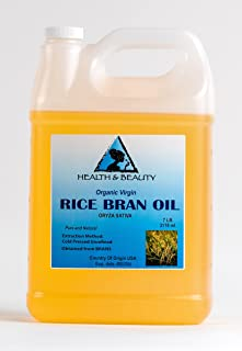 Rice Bran Oil Unrefined Organic Carrier Cold Pressed Virgin Raw Pure 128 oz, 7 LB, 1 gal