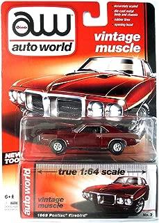 Auto World 1969 Pontiac Firebird 1/64 Diecast Car -- Red