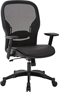 SPACE Seating Breathable Mesh Black Back and Padded Eco Leather Seat,  2-to-1 Synchro Tilt Control, Adjustable Arms and Lumbar Support with Gunmetal Finish Base Managers Chair