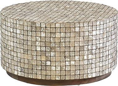 East At Main Cummings Coconut Shell, Tumbled Granite Coffee Table, Grey
