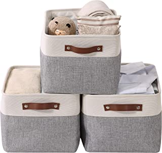 "DECOMOMO Large Foldable Storage Bin | Collapsible Sturdy Cationic Fabric Storage Basket Cube W/Handles for Organizing Shelf Nursery Home Closet & Office - Grey and White 15 x 11 x 9.5"" - 3 Pack"