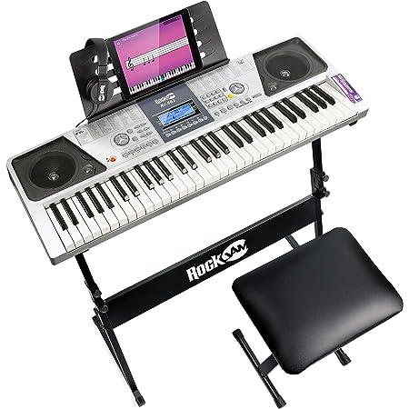 Ensemble de de piano 61 touches RockJam avec banc de piano numérique, support de piano électrique, écouteurs, autocollants pour notes de piano et leçons Simply Piano