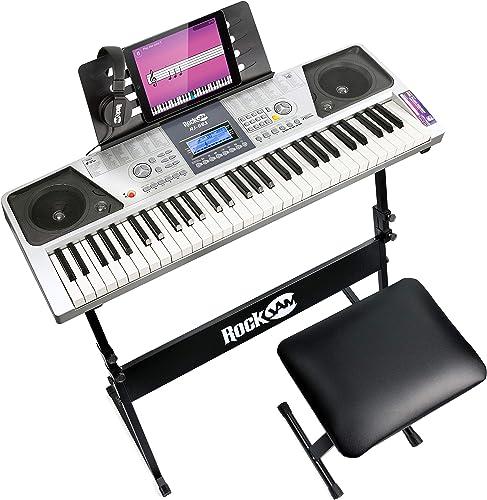 Rockjam 61 Kit Piano Clavier 61 Clés Casque Stand Clavier Banc de Clavier de Piano Numérique Stickers Note Piano et S...