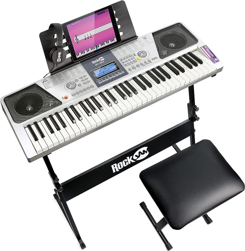Rockjam 61 tastiera kit pianoforte 61 tasti cuffie supporto della tastiera e panca RJ661-SK