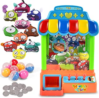 JOYIN Mini Claw Machine Toy Candy Grabber & Prize Dispenser Vending Machine Toy Grabber Arcade Game with 10 Plush Characters and 8 Capsules