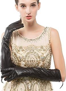 Nappaglo donne lungo i guanti di pelle vera pelle nappa, guanti di metallo con touchscreen inverno partito cerniera