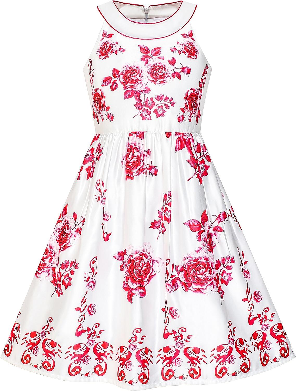 Sunny Fashion Vestido para niña Rojo Flor Cabestro Llamarada Princesa 5-14 años: Amazon.es: Ropa y accesorios