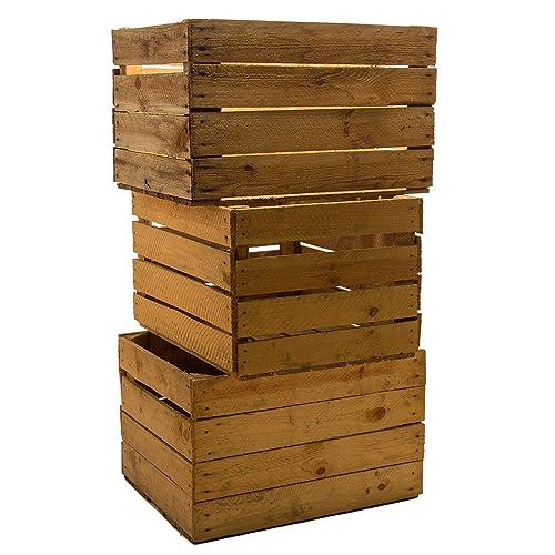 Set of 3 Vintage legno - vecchi frutta scatola - vino scatola - colore Used Look