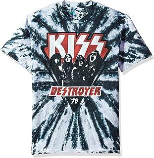 تي شيرت بأكمام قصيرة مطبوع عليه عبارة Liquid Blue Kiss Destroyer 1976 Tie Dye