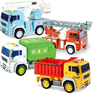 JOYIN 4 Pack Friction Powered City Vehicles Including Garbage Truck, Fire Engine Truck, Boom Lift Truck and Construction Dump Truck with Lights and Sounds