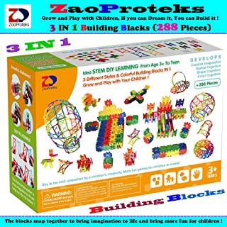 ZP ZaoProteks 288 Pieces 3 in 1 Building Block Sets , Educational and Creative ,STEM Toys for Boys and Girls