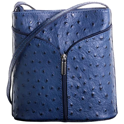 91c2ae44e96 Primo Sacci Italian Leather Hand Made Ostrich Effect or Smooth Finish Small  Cross Body or Shoulder