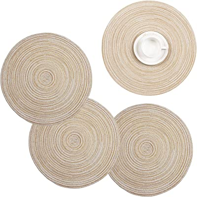Shacos Round Braided Placemats Set Of 6 Washable Round Placemats For Kitchen Table 15 Inch Beige 6 Home Kitchen