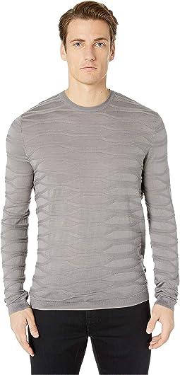 Large Links Embossed Crew Sweater