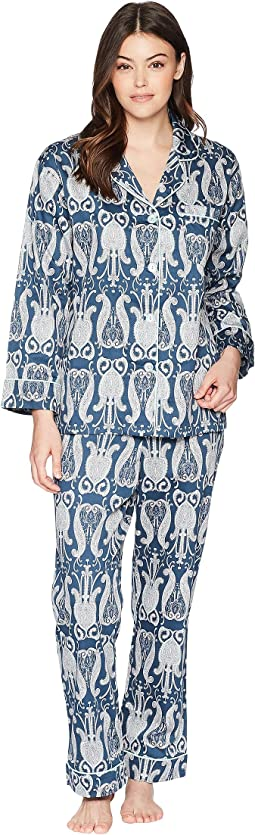Navy Paisley Long Sleeve Long Pajamas