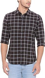 BASICS Slim Fit Phantom Black Checks Shirt