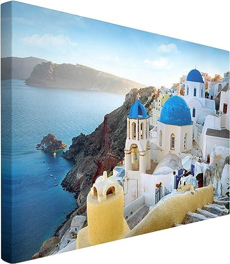 San Torini Insel Wandbild A06316 Canvas Leinwandbild quadratisch auf Keilrahmen