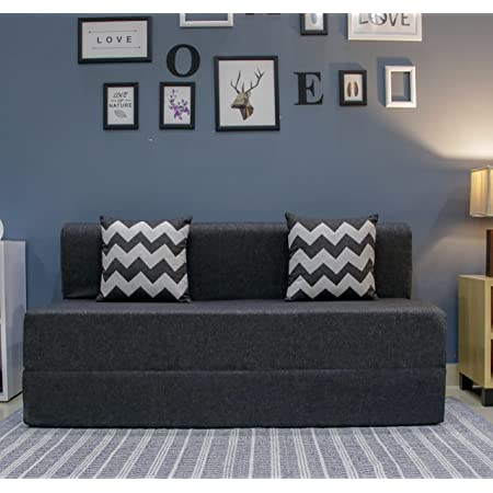 uberlyfe Sofa Cum Bed - 3 Seater, 5' X 6' Feet - with 2 Cushions (Zigzag Pattern) - Jute Fabric   Dark Grey - Perfect for Guests